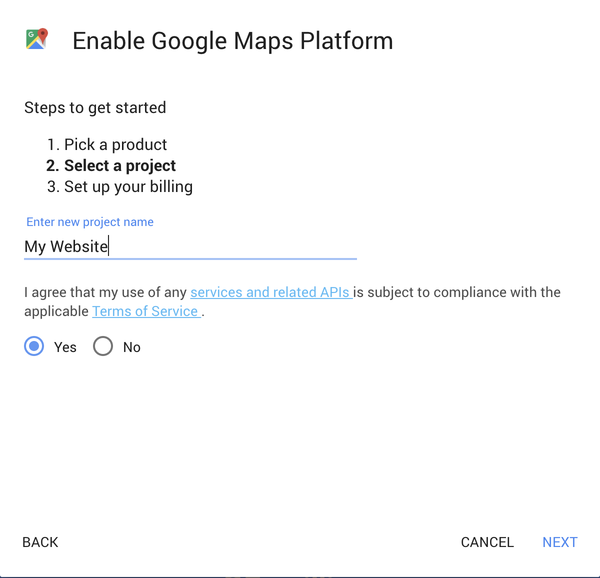 Google Maps Platform Walkthrough Step 2